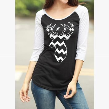 Christmas Deer Head Print Casual Multicolor Stitching Middle Sleeve T-shirt Women Tops