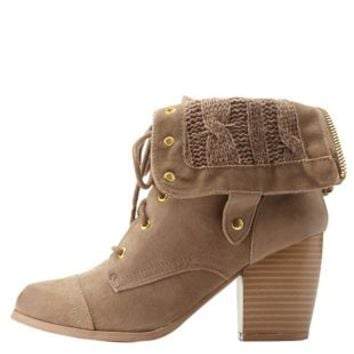 Taupe Sweater-Lined Chunky Heel Lace-Up Booties by Charlotte Russe