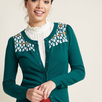 Button-Up Cardigan with Intarsia Flower Yoke