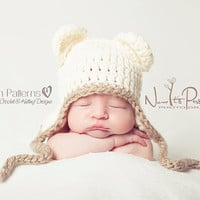 Crochet PATTERN - Baby Bear Earflap Hat - Crochet Hat Pattern - PDF 186 - Includes 5 Sizes Newborn to Toddler - Photo Prop