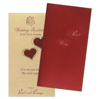 Very modern Deep Red hearts invitation Card - KNK2125