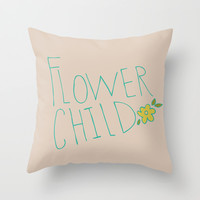 Flower Child Throw Pillow by Allyson Johnson