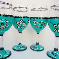 Hand Painted Wine Glasses, Turquoise, Bandanna,Wine Gift, Painted Wine Glasses, Wine Glasses, Western Decor, Glassware, Painted Glassware
