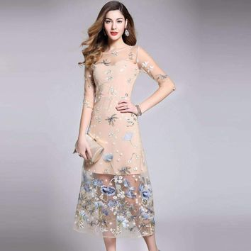 Pretty Embroidery Fake Two Mesh Long Dress Half Sleeve Slim Mid-Calf Length Female Dress