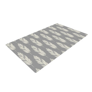 "Amanda Lane ""Feathers Gray Cream"" Grey Pattern Woven Area Rug"