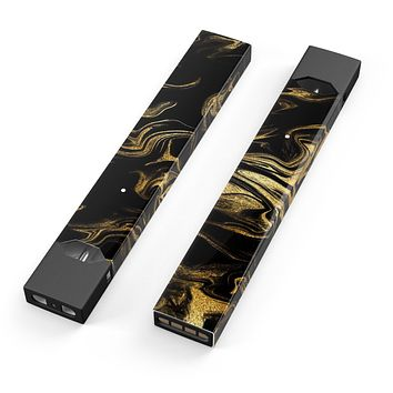 Skin Decal Kit for the Pax JUUL - Black & Gold Marble Swirl V7