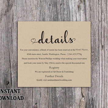 diy burlap wedding details card template editable word file instant download printable - Wedding Invitation Details Card