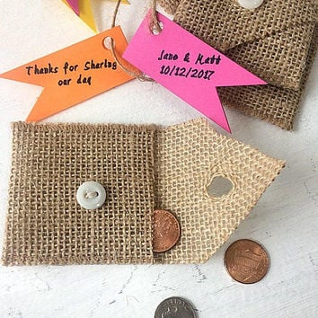 Burlap Wedding Favors, Set of 100 Rustic Coin Purses, Candy Envelope Bags, Colorful Personalized Tag Option, Sachet Pouch with White Button