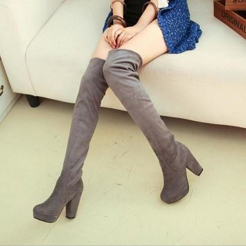 New Women Grey Round Toe Chunky Casual Over-The-Knee Boots