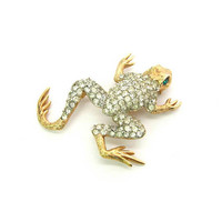 Rhinestone Frog Brooch Napier Leaping Amphibian Animal Figural Crystal Body Textured Gold Tone Green Eyes Vintage 1960s Fun Fashion Jewelry