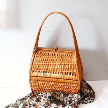 Vintage Wicker Purse Tote Basket Handbag Market Bag Shopping Tote