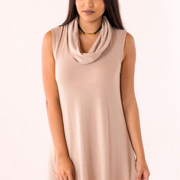 Throw In The Cowl Sweater Dress in Taupe
