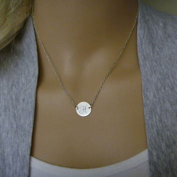 Hand Stamped Initial Necklace - Sterling Silver or Gold Disc Charm- Personalized Gift - Wedding Party - Bridesmaids - Flower Girls