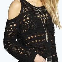 Jackie Crochet Knit Cut Out Shoulder Jumper