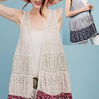 Easel Mixed Fabric Boho Vest - Light Gray or Vintage Rose