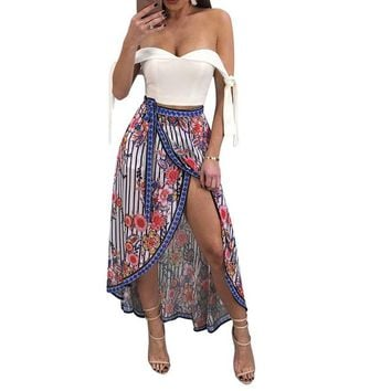 Sexy Dashiki Skirt Women Harajuku Boho Floral Skirts Open Front Side Tie High Waist Asymmetric Summer Beach Skirt Blue Saia 2018