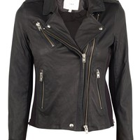 Vika Dark Purple Leather Jacket