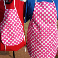 Pink & White Polka Dot Lined Full Mommy and Me Apron