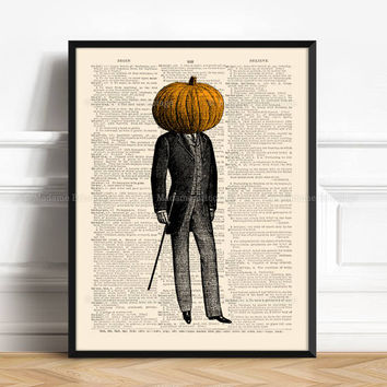 Pumpkin Head Poster, Pumpkin Head, Surreal Odd Weird, Teenager Gift, Gifts For Dad, Wall Art, Cool Halloween Decor 459