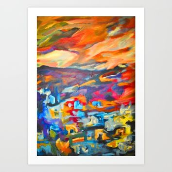 My Village | Colorful Small Mountainy Village Art Print by Azima