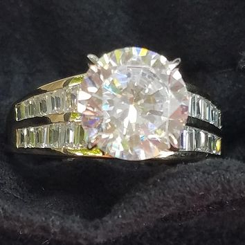 Cubic Zirconia Engagement Ring-*Clearance* The Juliana (3.0 Carat Round Cut in 2-Tone 14K White/Yellow Gold with Double Row of Channel-set Baguettes)