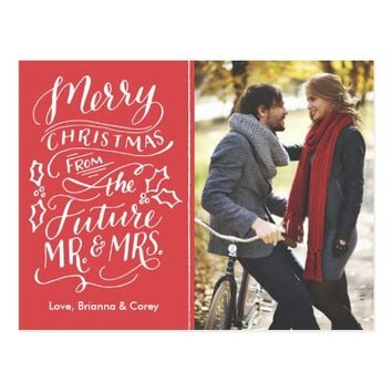 Christmas Future Mr. and Mrs. Photo Save The Date Postcard