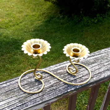 Brass candle holder floral candle holder gift, centerpiece home decor Decorative brass candle holder set beautiful candle holder swirl