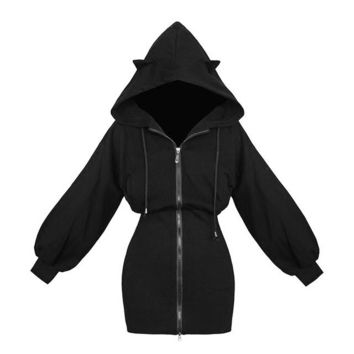 Kawaii Hoodie Harajuku Long Sweatshirt Women Black Punk Gothic Hoodies Hoody Ladies Zip-up 2018 Autumn Cute Ear Cat Hoodie
