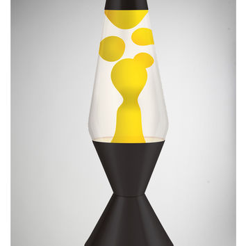 Lava Lamp with Yellow Lava, Clear liquid, and Black Base 52 oz.