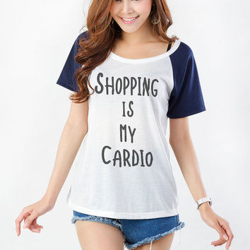 Funny Quote Shirt Shopping is my cardio Graphic T Tee T Shirt Womens Teens Girls Gifts Present Trendy Fashion Blogger Twitter Instagram