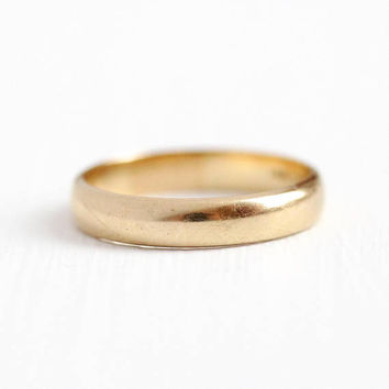 Vintage Wedding Band - 14k Yellow Gold Classic Plain Ring - Size 7 Simple Women's Fine Bridal Stacking High Polished Finish Jewelry