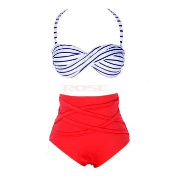 New Vintage Style Stripes Bandage Bikini High Waist Padded Twisted Bandeau Swimwear Swimsuit Bathing Suit SV001362 = 1645886852