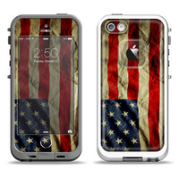 The Dark Wrinkled American Flag Apple iPhone LifeProof Case Skin Set