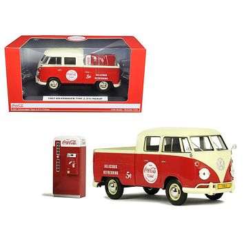 1963 Volkswagen Type 2 T1 Coca Cola Pickup  with Metal Vending Machine 1/24 Diecast Model Car by Motor City Classics