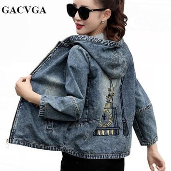 GACVGA 2018 Spring/Autumn Denim Jacket Women Embroidered Plus Size Bomber Jacket Hooded Jeans Jacket Women Basic Coats