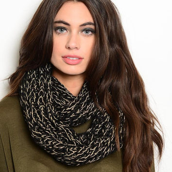 Infinity Scarf in Black and Gold