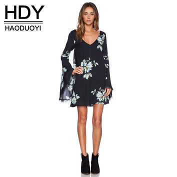 HDY Haoduoyi Black Floral Print Women Mini Dresses Flared Sleeve V Neck Cut Out Back Casual Dress Vintage Loose Dress Vestidos