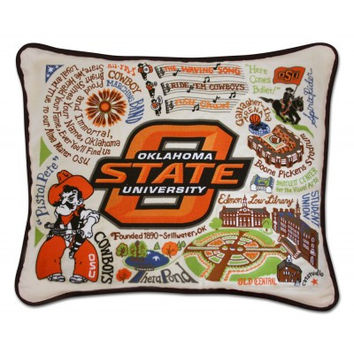 Oklahoma State University Embroidered Pillow
