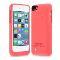 TechPro Apple iPhone 5C Rechargeable Backup Battery Case. Intergrated Lightning Port For Easy Access And Data Transfer. [Protective Design - September 2013] - Pink