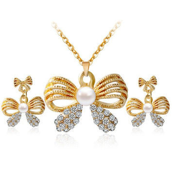 Bowknot Hollow Out Rhinestone Necklace and Earrings