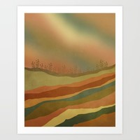 Abstract Retro Landscape 02 Art Print by vivianagonzlez