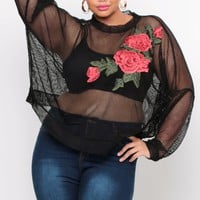 Plus Size Mesh Embroidered Sweater - Black