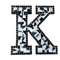 Letter K, Initial Art, Mosaic Wall Hanging