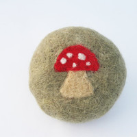 Red Toadstool Felted Soap with Moss background, Lavendar scented, round guest soap