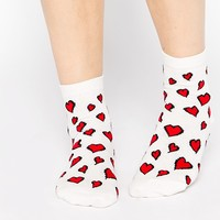 ASOS Valentine Ankle Socks With Heart Design