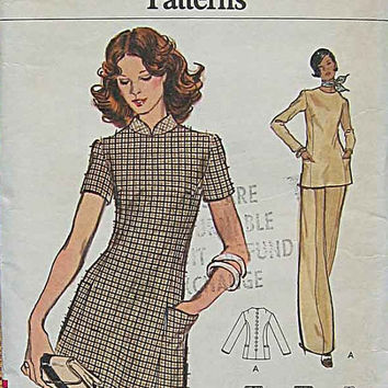 Vogue 8616 Sewing Pattern 70s Basic A-line Dress Tunic Back Button Wide Leg Pants Standing Collar Business Casual Uncut FF Bust 36