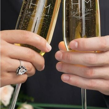 Set of 2, Initials Wedding Champagne Flutes, Personalized Champagne Flute Wedding Favors, Custom Bride and Groom Champagne Glasses #5