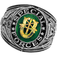Official US Special Forces Deluxe Engraved Silver Color Ring -Size