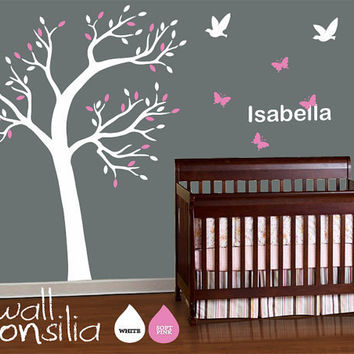 "Baby Nursery Tree Wall Decal Wall Sticker - with Babyname Lettering included - Tree Wall Decal - Tree Decals - Large: approx 77"" x 55"""