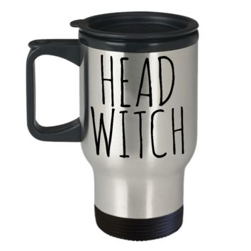 Head Witch Cauldron Mug Funny Halloween Stainless Steel Insulated Travel Coffee Cup Gifts for Witches